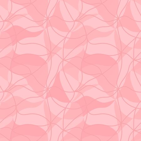 Vector abstraction background from many multicolored curved shapes in pastel pink colors in the style of 60s.