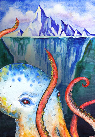 Watercolor illustration with iceberg and octopus.
