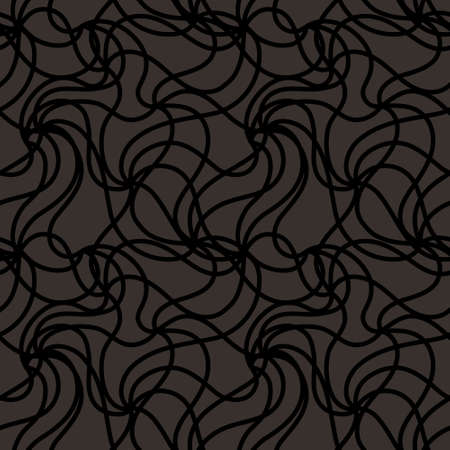 Abstract vector black often located curved lines on a dark background. Seamless pattern for wallpaper, textile and wrapping paper.