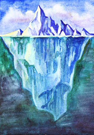 Watercolor illustration of the iceberg as a whole, its top and underwater. Banco de Imagens