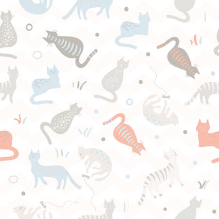 Cute color cats pattern. Vector illustration