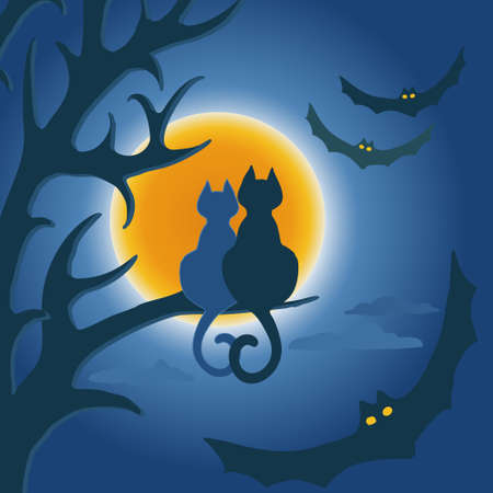 Vector image of two cats sitting on the branches of a tree at a full moon surrounded by bats Vettoriali