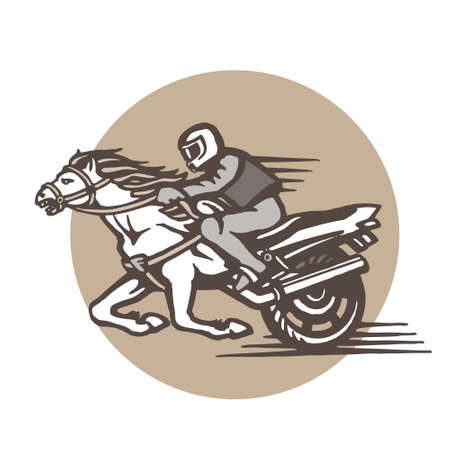 Vector emblem with a rider on a horse, motorbike and circular inscription. Иллюстрация