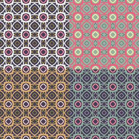 Set of 4 seamless background image of vintage round geometry pattern.