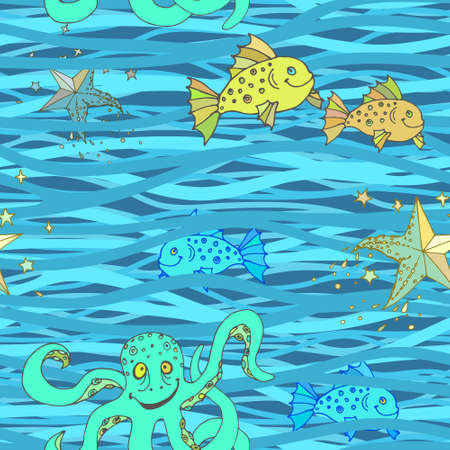 Seamless wavy pattern. Vector sea abstract background with marine life. 矢量图像