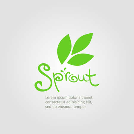 Abstract vector sprout logo design template with original hand lettering.
