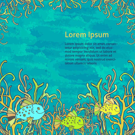 Vector background for greeting card with the underwater world, fish and seaweed.