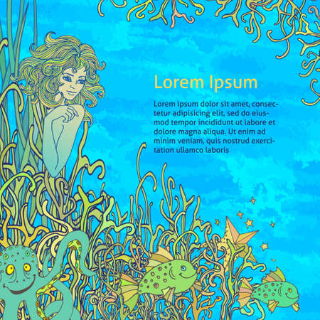 The underwater world and its inhabitants. Mermaid hiding among the corals.