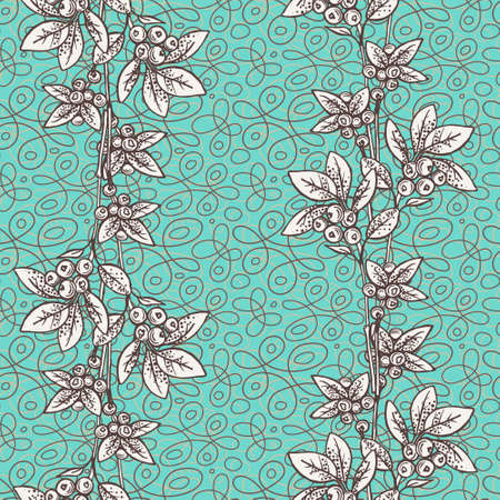 Blue floral seamless pattern with hand drawn flowers