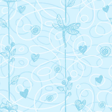floral seamless pattern with hand drawn hearts and dragonflyes