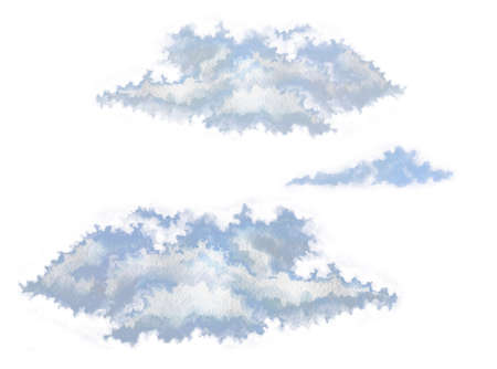 Hand-drawn clouds set isolated on white background Фото со стока