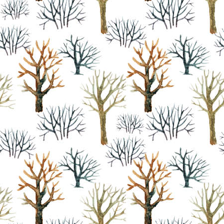 Hand drawn seamless pattern made of trees on white background