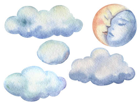 Hand drawn illustration of clouds with moon on white background Фото со стока