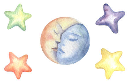 Hand drawn set of stars and moon on white background Фото со стока