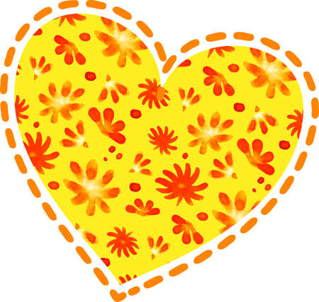 Colorful heart shape made of hand-drawn flowers on white background