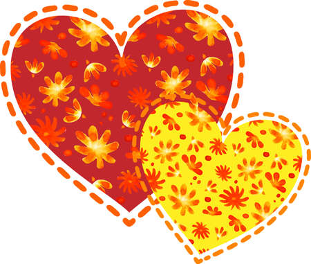 Colorful heart shapes made of hand-drawn flowers on white background