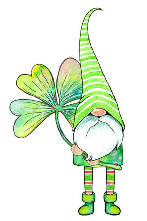 Cute little watercolor cartoon gnome in a striped cap with a four-leaf clover leaf isolated on a white background. Фото со стока