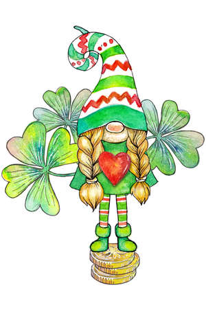 Cute cartoon watercolor gnome girl in striped cap with four-leaf clover leaves isolated on white background Фото со стока