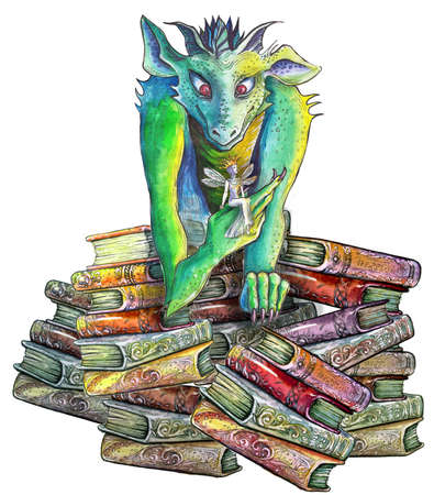 drawn beautiful dragon with a fairy sitting on the stack of old books