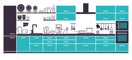 cabinets: Illustration of Modern Kitchen Cabinets and Household Equipment in Line Style for Your Design, Banner.