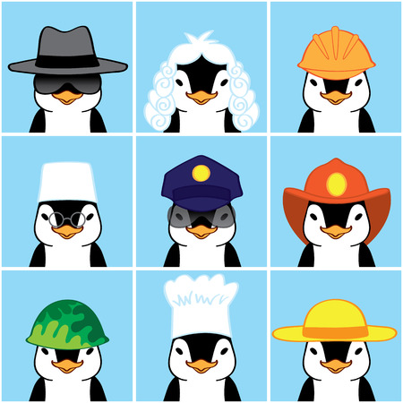 diferentes profesiones: Ping�inos lindos de diferentes profesiones.