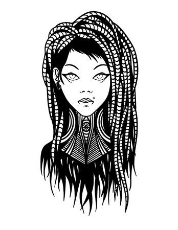 dreadlocks: Stylish young girl with dreadlocks, tattoo and piercing.