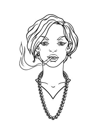 bijou: Stylish beautiful lady with cigarette. Illustration