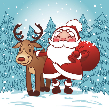 klaus: Santa Claus with bag full of Christmas gifts and reindeer in the snow. Happy New Year card.