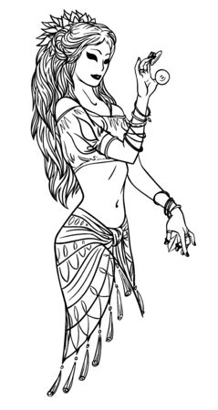 Illustration of Tribal Dancer or Indian Dancer Girl in Hand Drawn Style.