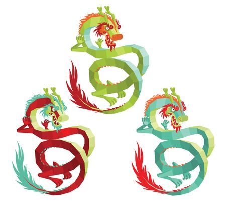 Illustration of Modern Polygonal Chinese Dragon for Your Design. Illustration