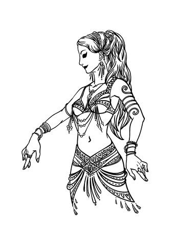 Ilustración de la bella mujer bailando en estilo dibujados a mano sobre un fondo blanco para su diseño. Feminidad.