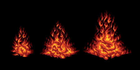 flare up: Set of red stylized fire on a black background. Campfire flare up elements. Illustration
