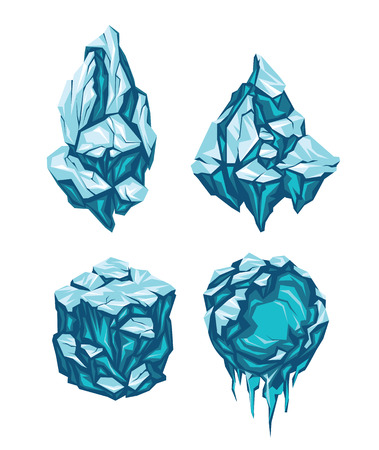 icy: Set of Ice Blocks in Form of Rock, Pyramid, Cube and Sphere.