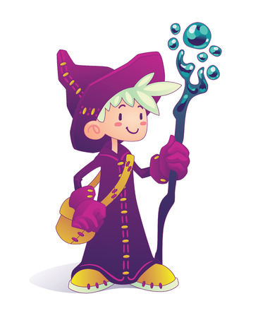 mage: Happy cartoon mage character holding a stick isolated on a white background. Hero for illustration, fantasy RPG game or part of your design.