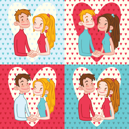 couple holding hands: Romantic couple holding hands. Set of Valentines Day Cards.
