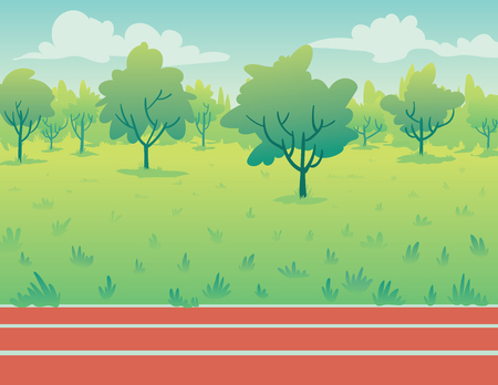 running track: Park landscape with running track in flat cartoon style. Environment with green trees, grass and track. Illustration
