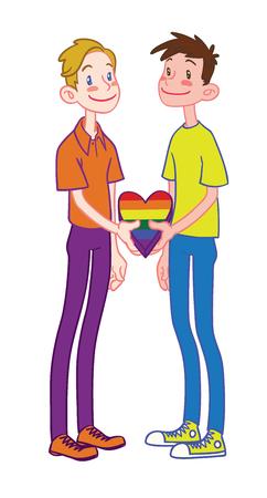 Gay happy family with rainbow heart cartoon illustration.