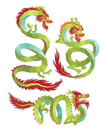 legendary: Set of Polygonal Chinese Dragons. Legendary Chinese Dragons on a White Background. Chinese Dragons. Illustration
