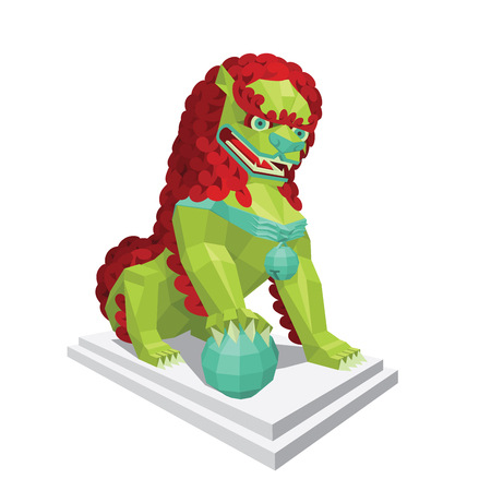 legendary: Polygonal chinese green Lion with red mane. Legendary creature - Asian Lion in mixed style isolated on a white background. Illustration