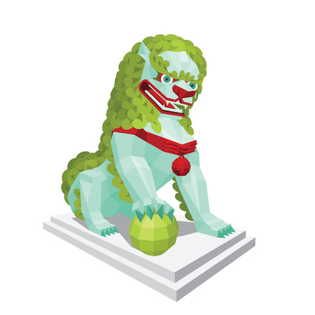 legendary: Polygonal tibetan light Lion with green mane. Legendary creature - Asian Lion in mixed style isolated on a white background.