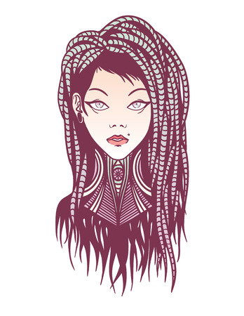 dreadlocks: Colorful stylish young girl with dreadlocks, tattoo and piercing. Illustration of subcultural girl on a white background. Modern woman portrait for your design.
