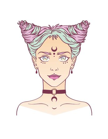Stylish beautiful young girl with modern hairstyle and piercing. Nu-goth girl portrait in hand drawn style. Vector illustration of young subcultural girl with choker and dark moon on her forehead. Illustration