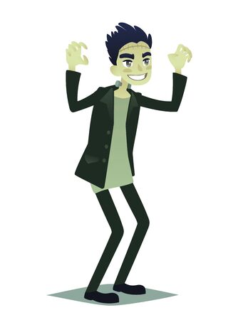 Cute young man in style of Frankenstein monster going for Halloween party. Vector illustration of young guy in costume of Frankenstein in flat cartoon style for your design, prints and greeting card.