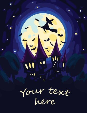 flying witch: Simple Halloween Art. Vector illustration of Halloween starry night with full Moon and silhouettes of flying Witch, bats and old castle in flat style for your design, print, poster and greeting card.