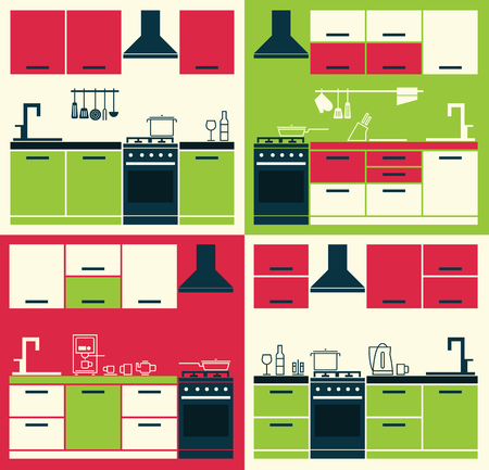 cabinets: Modern Kitchen Interior. Vector Kitchen Cabinets. Vector Illustration of Modern Kitchen Cabinets and Household Equipment in Line Style. Banner or Flyer with Kitchen Cabinets.