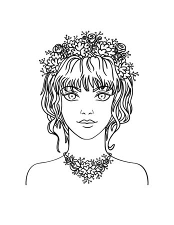 curly hair: Hand drawn stylish beautiful young girl with curly hair and flowers. Summer girl portrait in hand draw style. Vector illustration of young girl with flowers in her curly hair. Illustration