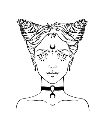choker: Stylish beautiful young girl with modern hairstyle and piercing. Nu-goth girl portrait in hand drawn style. Vector illustration of young subcultural girl with choker and dark moon on her forehead. Illustration