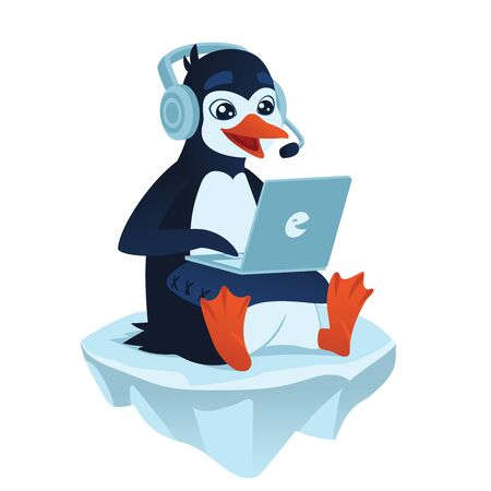 Cute cartoon penguin with a laptop playing video games and sitting on an ice floe. Vector illustration of cute penguin gamer with his laptop on a pillow in flat cartoon style on a white background. Illustration