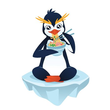 floe: Cute cartoon penguin with a noodle dish eating and sitting on an ice floe. Vector illustration of cute penguin with noodle dish in flat cartoon style on a white background. Illustration