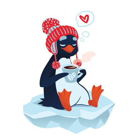 floe: Cute cartoon penguin in funny hat with cup of coffee on an ice floe thinking about love. Vector illustration of cute penguin in love with coffee in flat cartoon style for your design.